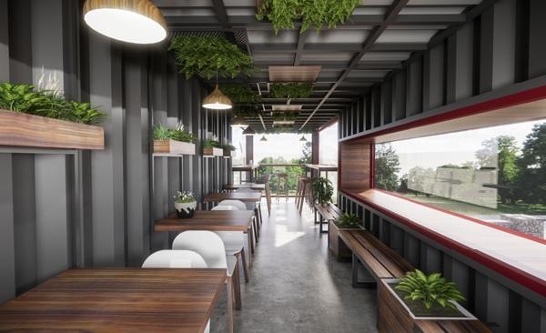 thiet ke quan cafe thep tien che 4 - 20+ Mẫu thiết kế quán cafe thép tiền chế đẹp, ấn tượng
