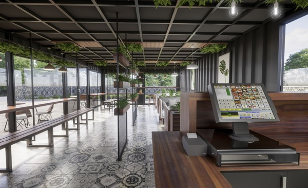 thiet ke quan cafe thep tien che 5 - 20+ Mẫu thiết kế quán cafe thép tiền chế đẹp, ấn tượng